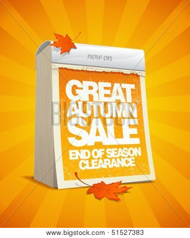Autumn sale design template in form of tear-off calendar.  Eps10