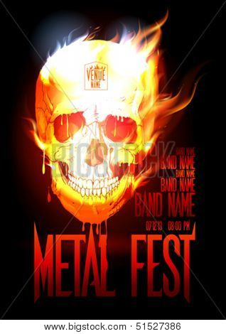 Metal fest design template with skull in flames and place for text. Eps10