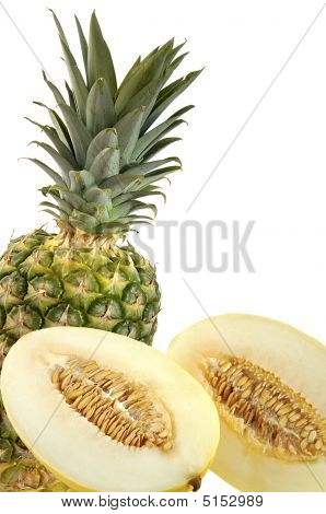 Cut Melon And Pineapple.
