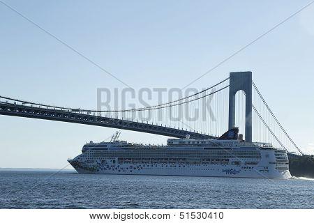 Norwegian Gem Cruise Ship under Verrazano Bridge in New York Harbor