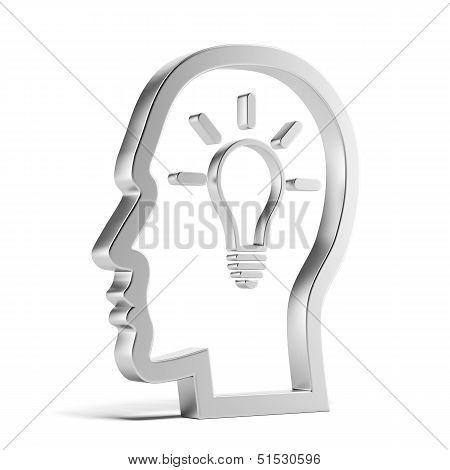 light bulb inside a head