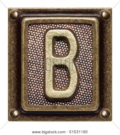 Metal button alphabet letter B