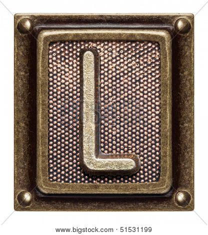 Metal button alphabet letter L