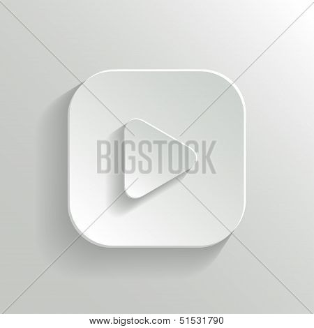 Play Icon - Media Player Icon - Vector White App Button