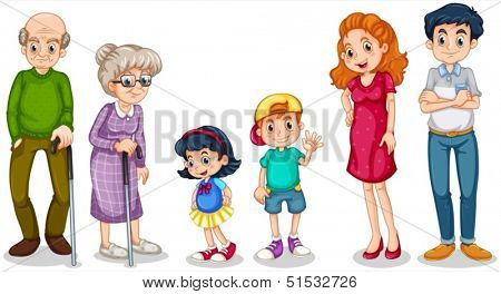 Illustration of a happy family with their grandparents on a white background