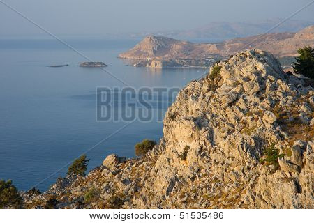 Coastline on the Island of Rhodes Greece