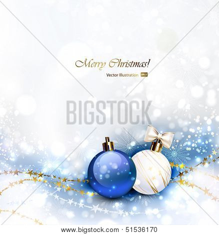 Christmas background with Christmas baubles