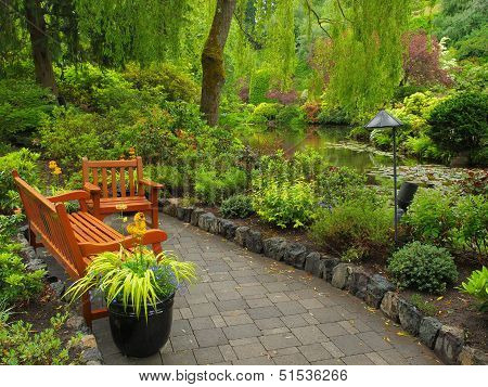 Garden Benches Over The Pond