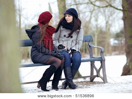 Bestfriends In A Serious Conversation While Sitting On A Bench