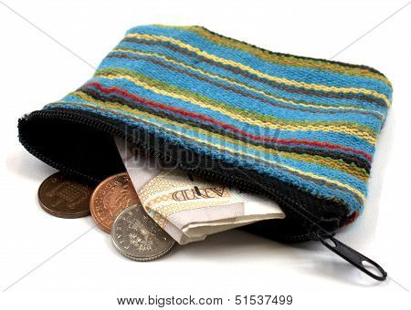 Coin purse with british currency