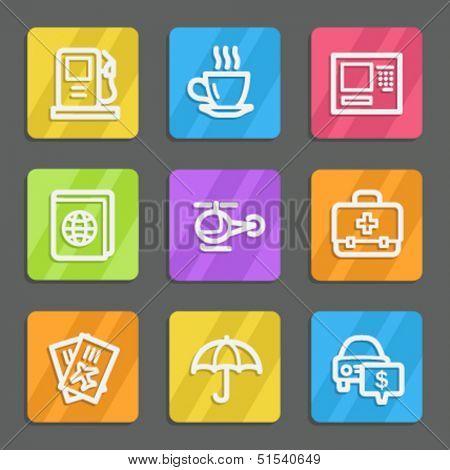 Travel web icons set 4, color flat buttons