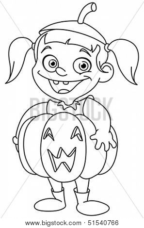 Outlined cute young girl in a pumpkin costume celebrating Halloween