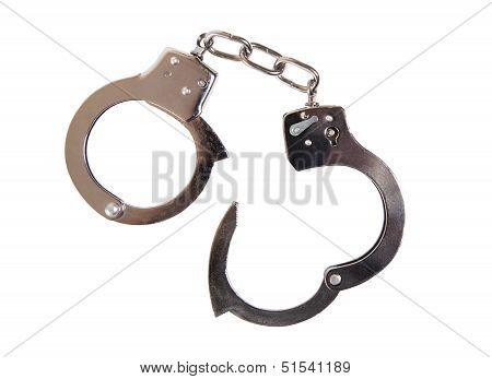 A Pair Of Handcuffs On White