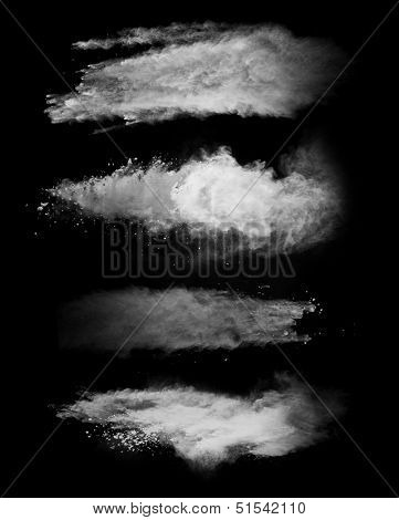 White powder collection, isolated on black background