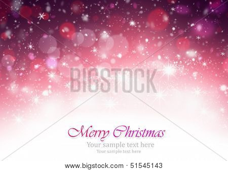 Christmas background with bright stars and snowflakes