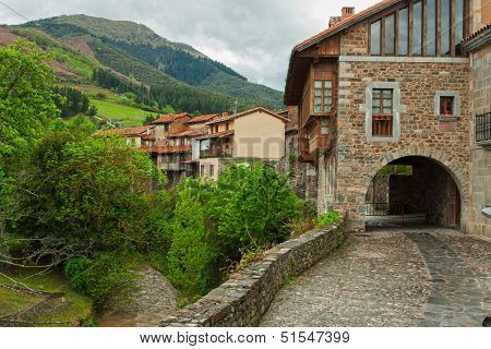 Old street in Potes, Cantabria,  Spain