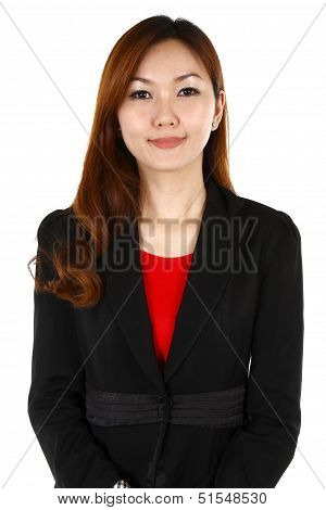Portrait Of A Young Business Woman With A Smile, On A White Background