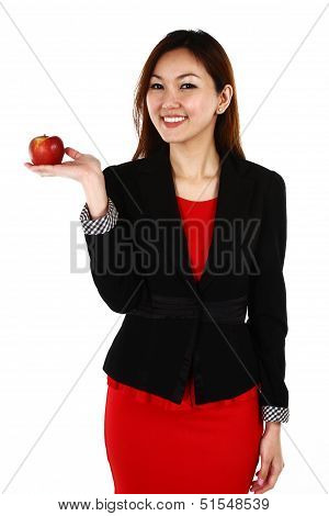Businesswoman With An Apple In Her Hand - Healthy Eating Concept