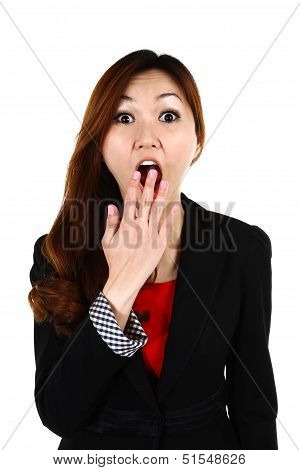 Portrait Of Young Asian Business Woman With A Surprise Look, Isolated On White Background