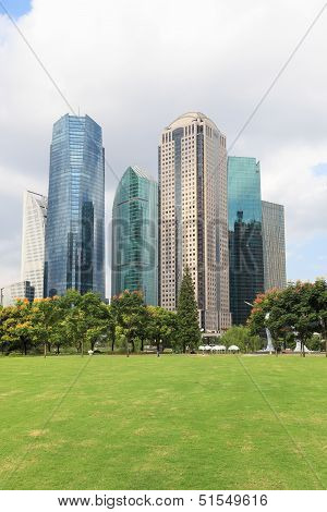 Lawn With Modern City