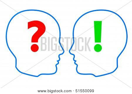 Contours Of The Heads With Question And Exclamation Marks