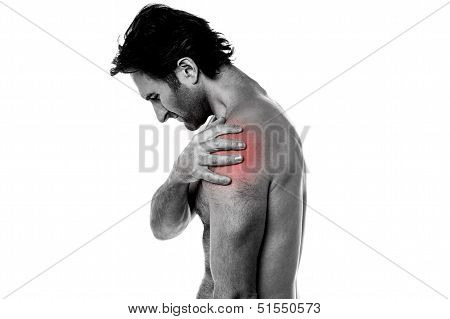 Middle Aged Man Having Shoulder Ache