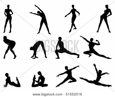 Moving female silhouettes
