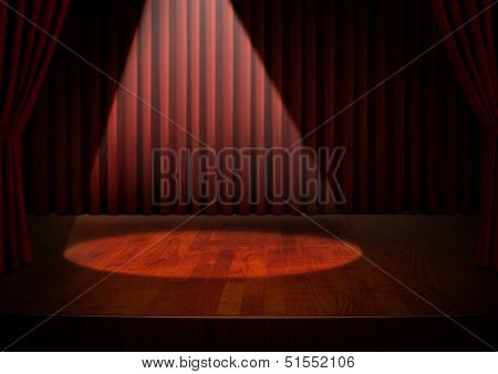 Empty Stage With Spotlight And Red Curtains