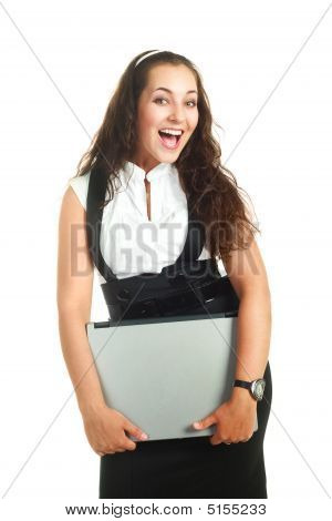 Successful Woman Holding A Laptop