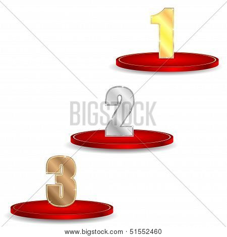 Set Of Numbers Of Gold Silver And Bronze Color Decorated By Brilliant Stones