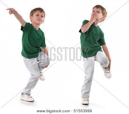 a boy standing on one leg,