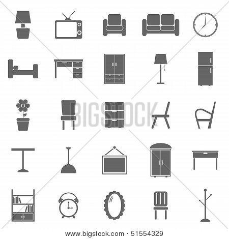 Furniture Icons On White Background
