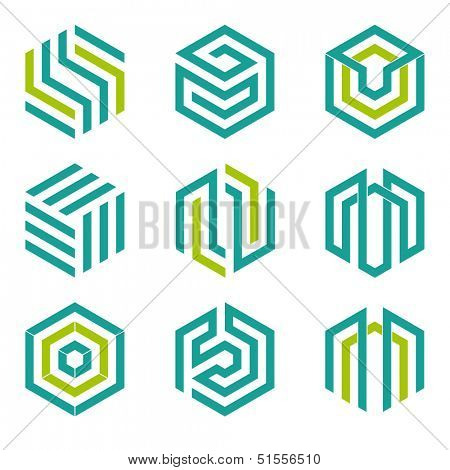 Set of nine abstract hexagon shaped vector symbols