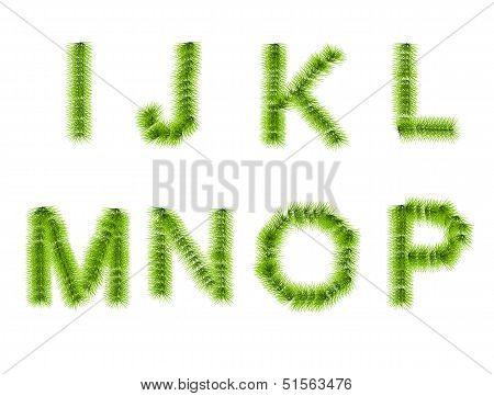 Grass Letters I, J, K, L, M, N, O, P