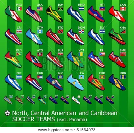 North, Central American and Caribbean soccer team shoes