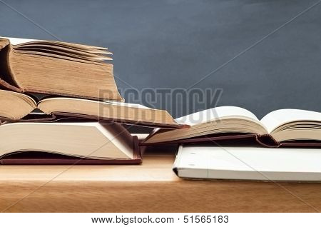 Study Books Opened On Table