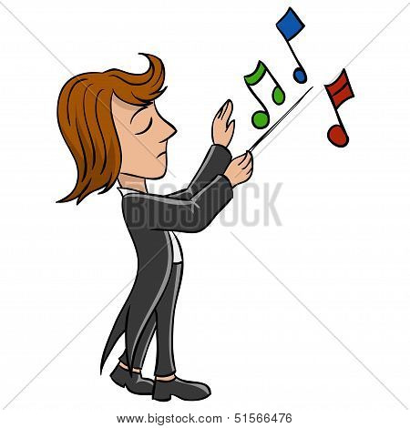 Cartoon Conductor With Notes