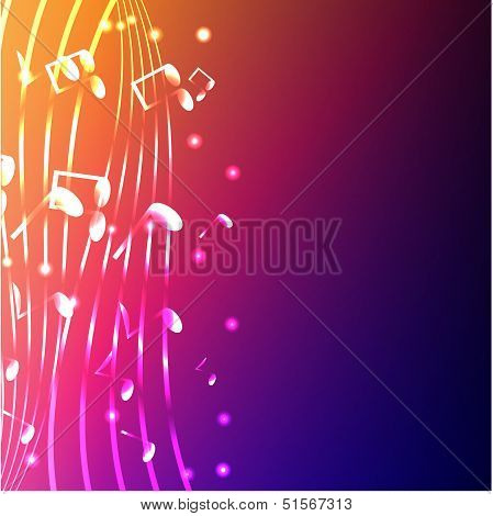 Luminous Notes On A Varicoloured Background