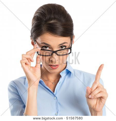 Young Businesswoman Holding Eyeglasses And Gesturing With Finger Isolated On White Background