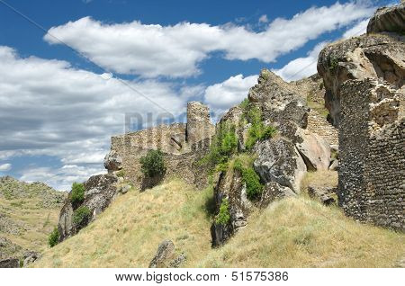 fortified walls of Marko's Towers near Prilep, Republic of Macedonia