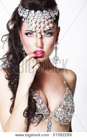 Refined Showy Woman With Bright Diadem And Shining Bra