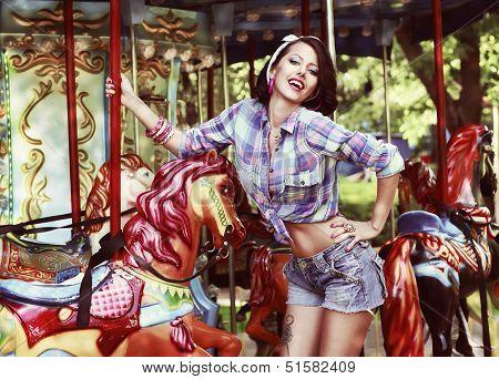 Gaiety. Rejoice. Happy Woman Enjoying Life And Having Fun. Gladness