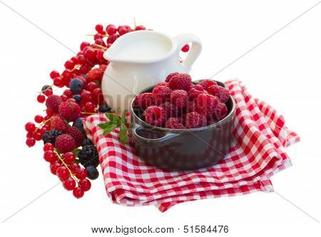 fresh berries and milk