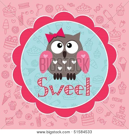 Cute baby card with owlet