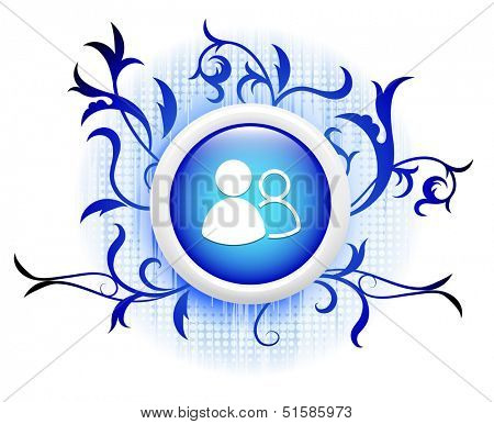 usergroup icon on blue decorative button