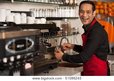 Happy Barista Staff Preparing The Order