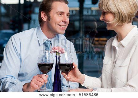 Happy Couple Toasting Red Wine