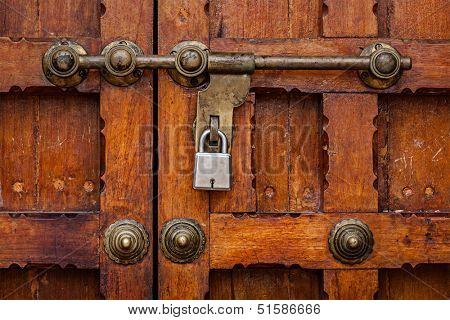 Latch with padlock on door in India