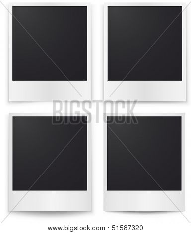 Blank photos template with shadow isolated on white background.