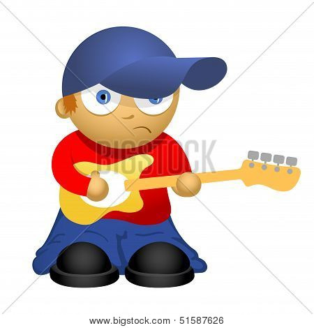 Funny cartoon bass-guitar player